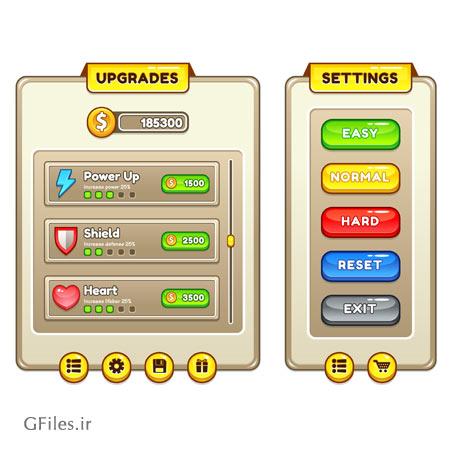 دانلود فایل لایه باز تمپلت بازی، ارائه شده با فرمت های eps و ai شامل المان ها و عناصر بازی مثل کلید و باکس