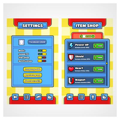 دانلود فایل رابط گرافیکی بازی موبایلی، ، قابل ویرایش در نرم افزار ادوب ایلستریتور، ارائه شده با فرمت های eps و ai