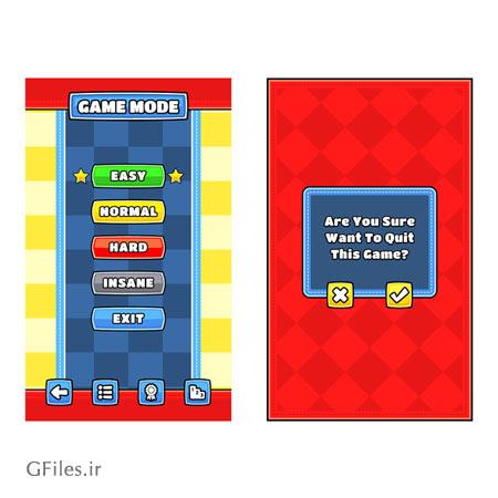 دانلود طرح لایه باز تمپلت بازی، به صورت باکس های انتخاب نوع مرحله بازی، قابل ویرایش در نرم افزار ادوب ایلستریتور