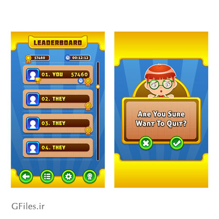 دانلود طرح وکتوری قالب و فریم بازی، با باکس ها و کلید های مختلف و تصویر یک پسر، مناسب برای طراحی ui بازی های موبایلی