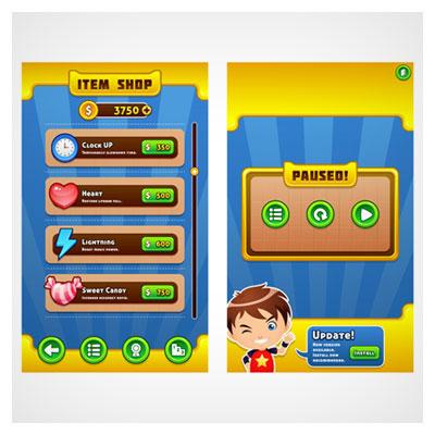 دانلود فایل طراحی دیزاین و قالب بازی موبایلی با کلید ها و کاراکترها، ارائه شده با فرمت های eps و ai