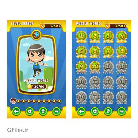 دانلود فایل دو قسمتی فریم و قالب بازی وکتوری، مناسب برای طراحی ui بازی های تلفن همراه