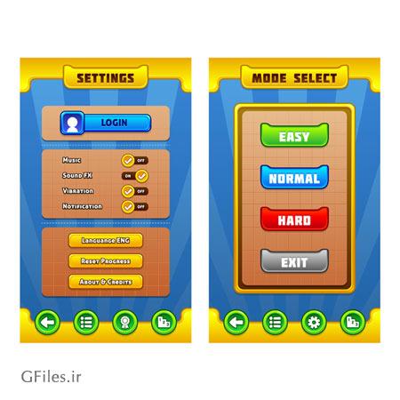 دانلود فایل آماده برای طراحی آیکون ها و المان های بازی موبایلی، ارائه شده با فرمت های eps و ai