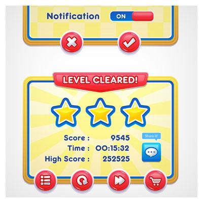 دانلود فایل لایه باز فریم و آیکون بازی به صورت دو قسمتی دو بعدی، مناسب برای طراحی ui بازی های تلفن همراه