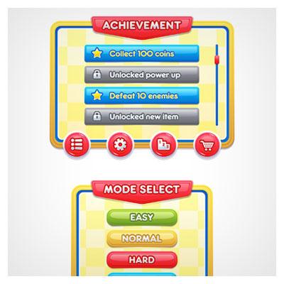 دانلود فایل طراحی شده از المان های وکتوری بازی موبایلی، مناسب برای طراحی ui بازی های موبایلی