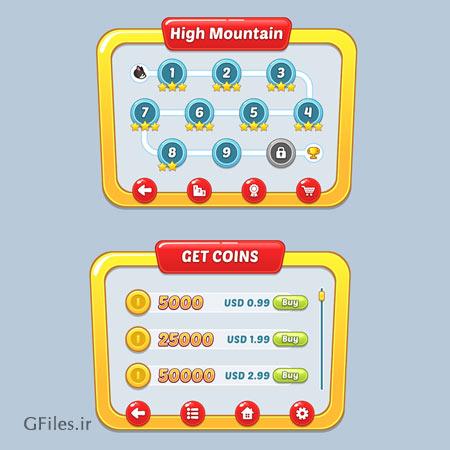 دانلود فایل وکتوری دو بعدی رابط گرافیکی کاربر، قالب بازی، مناسب برای طراحان بازی تلفن همراه