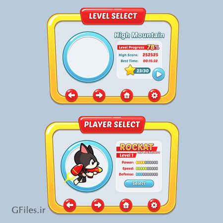 دانلود فایل وکتور تمپلت بازی دوبعدی، مناسب برای طراحان گیم موبایلی با تصویر کاراکتر گربه جنگجو