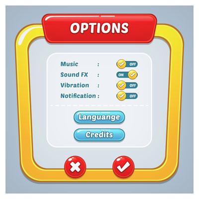 دانلود مجموعه آیکون ها و کلیدهای بازی به صورت لایه باز، مناسب برای طراحی ui بازی های تلفن همراه