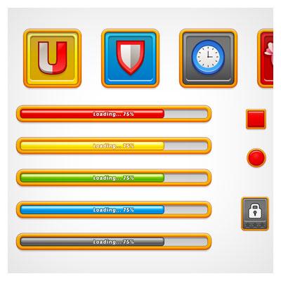 دانلود مجموعه بخش های مختلف بازی مانند کلید و فریم و باکس و ...، مناسب برای طراحی ui بازی های تلفن همراه