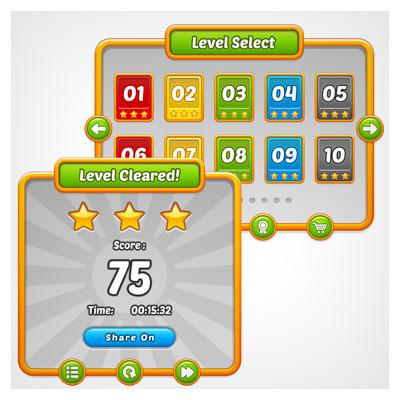 دانلود فایل وکتوری مجموعه عناصر و المان های بازی به صورت قالب و تمپلت، مناسب برای طراحی ui گیم