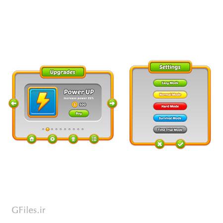 دانلود فایل لایه باز بخش های مختلف بازی شامل کلید و فریم و قالب و تنظیمات، مناسب برای طراحی ui گیم