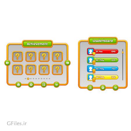 دانلود طرح گرافیکی عناصر و بخش های مختلف بازی، قابل ویرایش در نرم افزار ادوب ایلستریتور