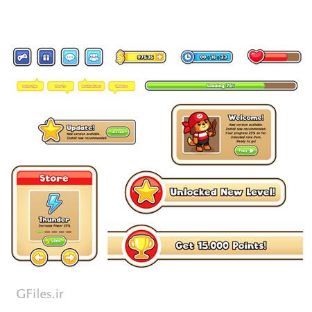 دانلود طرح لایه باز عناصر آماده بازی، کلیدها و علائم گرافیکی، مناسب برای طراحی ui بازی های تلفن همراه