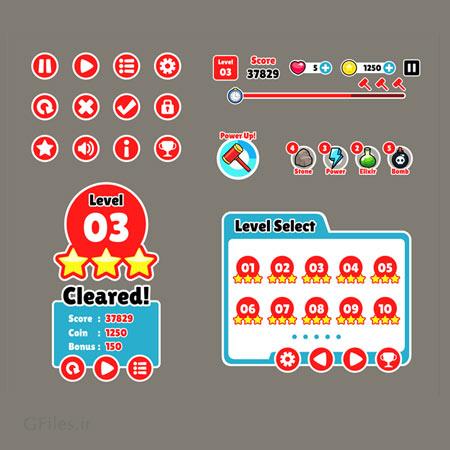 دانلود فایل لایه باز منو و دیزاین و عناصر بازی به صورت دوبعدی، قابل ویرایش در نرم افزار ادوب ایلستریتور