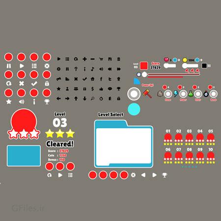 دانلود علائم و المان های بازی به صورت جداگانه، منو ها و کلیدهای بازی، مناسب برای طراحی ui بازی های تلفن همراه