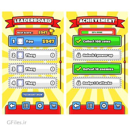 دانلود طرح وکتوری منو و فریم بازی، همراه کلیدهای مختلف، مناسب برای طراحان گیم موبایلی