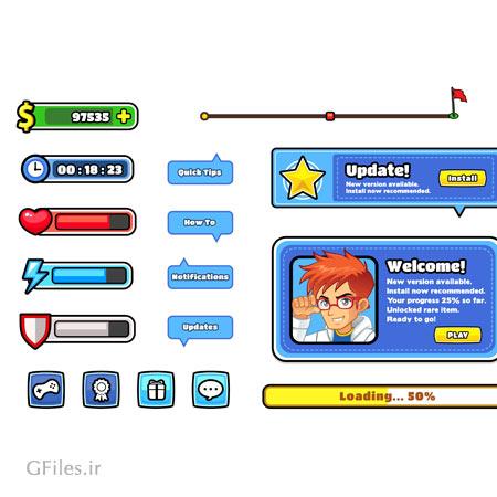 دانلود فایل وکتوری المان ها و عناصر بازی دو بعدی، به صورت فریم و منو و کلید، مناسب برای طراحی ui بازی های موبایلی