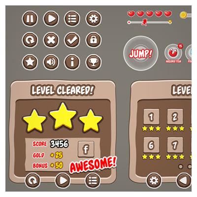 دانلود فایل وکتوری مجموعه المان های بازی شامل کلید و فریم و اشکال مختلف، مناسب برای طراحان گیم موبایلی