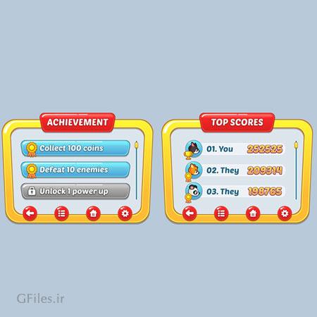 دانلود فایل وکتوری باکس های بازی، همراه با کلید و دکمه و منو، مناسب برای طراحی ui بازی های تلفن همراه