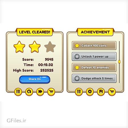 دانلود فایل گرافیکی لایه باز عناصر آماده بازی، شامل منو و کلید و باکس و فریم، مناسب برای طراحی ui گیم