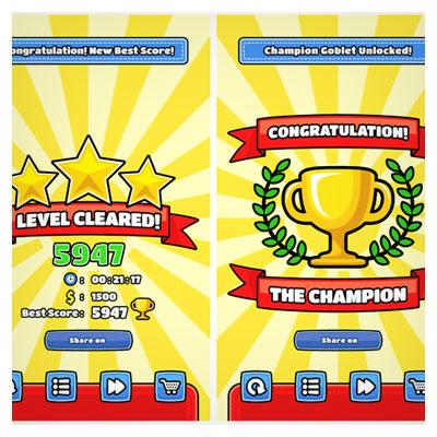 دانلود فایل گرافیکی باکس های بازی، با تصویر کاراکتر جام طلایی و ستاره ها، مناسب برای طراحان بازی تلفن همراه