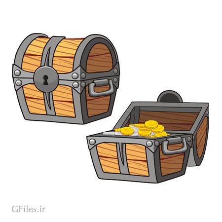 دانلود فایل تصویری وکتوری المان بازی، به صورت صندوقچه چوبی ، مناسب برای طراحان گیم موبایلی