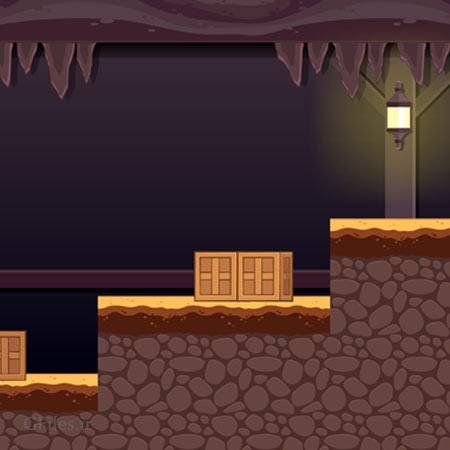 دانلود طرح پس زمینه بازی سیاهچال خلوت و تاریک در شب، مناسب برای طراحان بازی های موبایلی