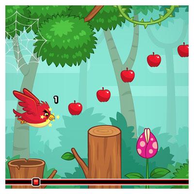 دانلود طرح گرافیکی پس زمینه بازی پرنده گرسنه، با تصویر کاراکتر و آیکون بازی، مناسب برای طراحان گیم موبایلی