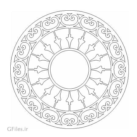 طرح آماده دایره ای شکل مناسب برای لیزر و سی ان سی (کف سینی ، سالن ، میز و ...)