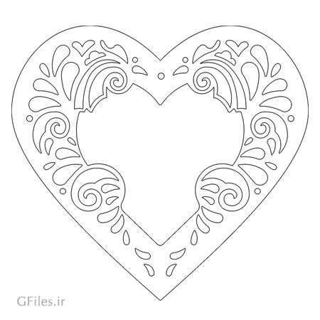 وکتور قاب قلبی شکل جهت ساخت آیینه (فریم) مناسب برای برش لیزر یا cnc