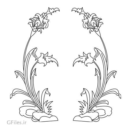 طرح تزئینی گل مناسب برای برش لیزر یا حکاکی رو درب کمد ، کف سالن و ...