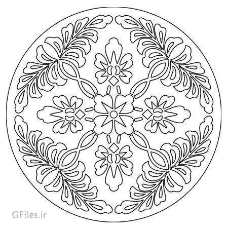 طرح تزئینی دوار (دایره ای) مناسب برای حکاکی ، برش لیزر و ... روی میز دایره ای