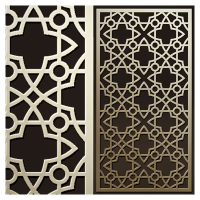 طرح مشبک و پنجره ای اسلامی جهت ساخت پنل مشبک یا دیوار جدا کننده