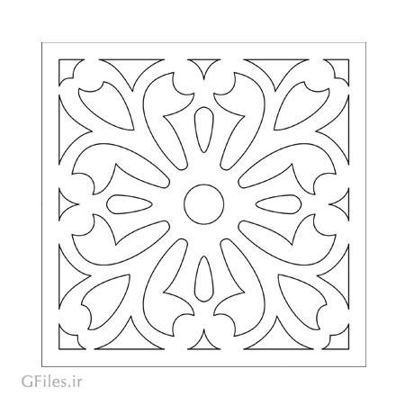 دانلود المان تزئینی مربعی مناسب برای برش لیزر یا cnc