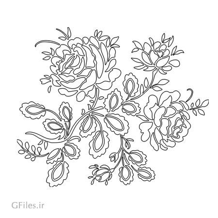 طرح تزئینی گل و بوته رز مناسب برای برش لیزر یا سی ان سی