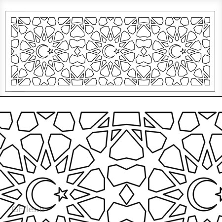 طرح مشبک اسلامی جهت پنل مشبک با دو پسوند cdr و dxf