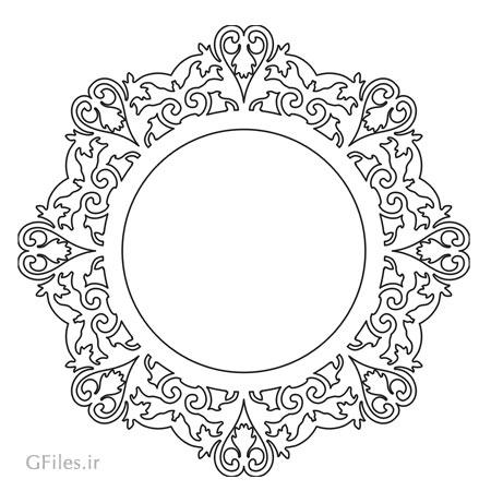 طرح آماده فریم و قاب آیینه دایره ای مناسب برای لیزر یا سی ان سی