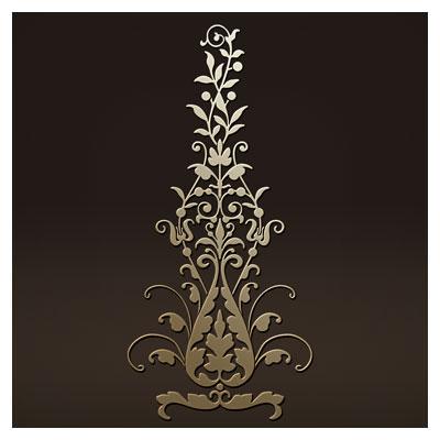 طرح تزئینی عمودی گلدار مناسب برای حک یا لیزر روی میز ، کف سالن و ...