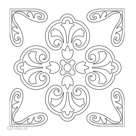 طرح تزئینی مربعی گلدار جهت تزئینات کف سالن ، روی میز ، صندلی و ...