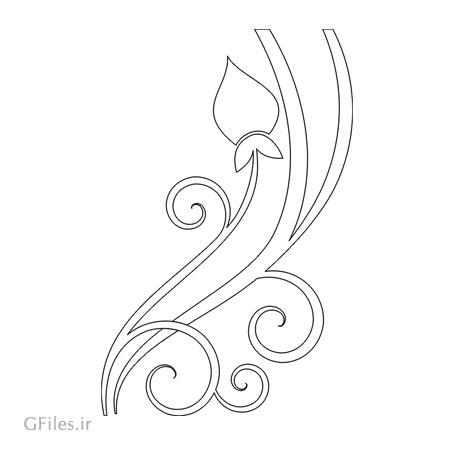 طرح ساده گل پیچ جهت تزئینات روی درب کمد ، میز و ...