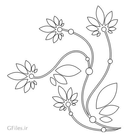 طرح لایه باز گل های تزئینی جهت برش لیزر یا حک روی میز ، درب کمد و ...