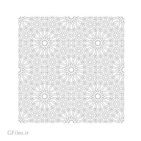 طرح پس زمینه مشبک اسلامی مناسب برای برش لیزر یا سی ان سی