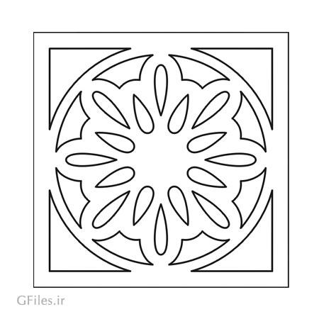 طرح تزئینی مربعی مناسب برای تزئین و حک روی میز ، صندلی ، کف سالن و ...