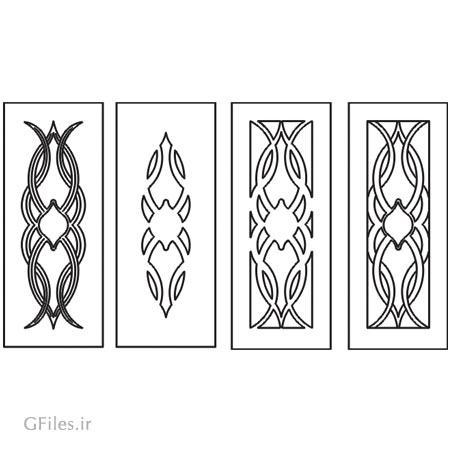 دانلود مجموعه 4 طرح تزئینی جهت حک ، لیزر یا سی ان سی روی درب