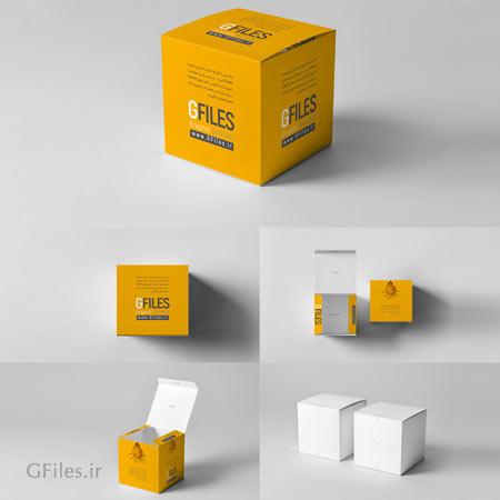 دانلود مجموعه 5 موکاپ کاربری از جعبه مربعی شکل با امکان نمایش طرح شما روی آن