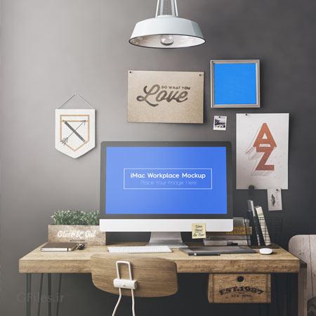 فایل psd موکاپ مانیتور مک بوک ، با امکان نمایش طرح شما داخل مانیتور