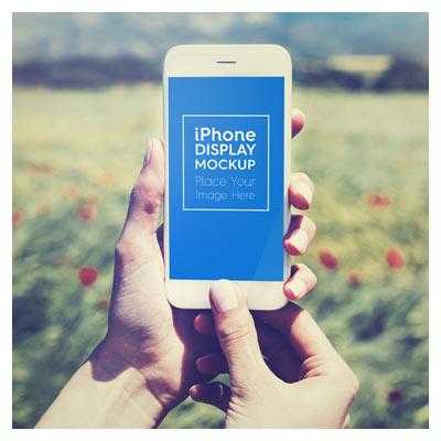 دانلود طرح psd موکاپ گوشی آیفون در دست با امکان نمایش طرح شما روی مانیتور گوشی