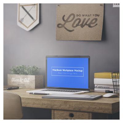 موکاپ لایه باز psd مک بوک با امکان نمایش طرح شما روی صفحه مانیتور