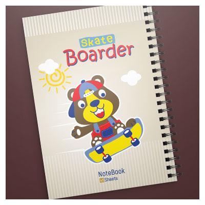 طرح لایه باز کارتونی جلد دفترچه نقاشی یا دفتر مشق مناسب برای مدارس