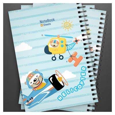 طرح کارتونی لایه باز دفترچه مشق مناسب برای چاپ افست و پرینت